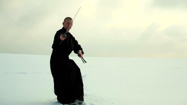 Samuraj in winter landscape