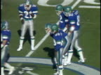 1984 MS San Antonio Gunslingers in huddle/ HA WS quarterback Rick Neuheisel throwing complete pass to Glenn Starks in game against Oakland Invaders/ San Antonio, Texas