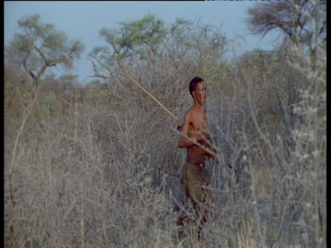 San Bushman runs through scrub on long hunt, Kalahari Desert