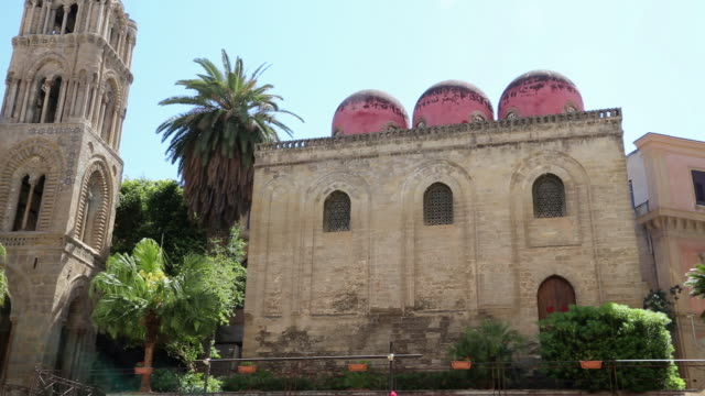 San Cataldo church, view of the southern side and the red domes, Palermo, Sicily.