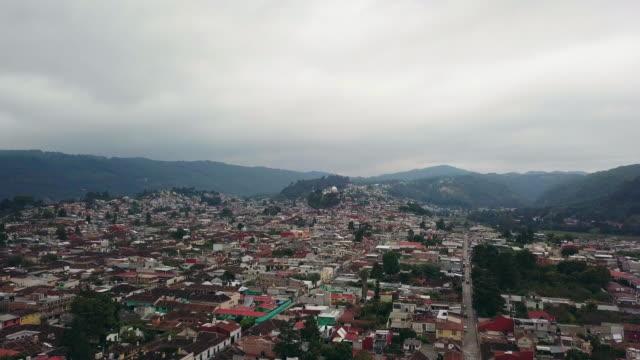 San Cristobal de las Casa Aerial video toward Church of Guadalupe Virgin