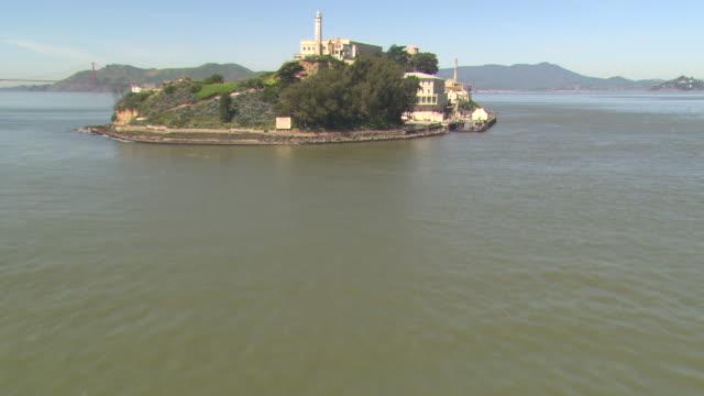 San Francisco Bay surrounds Alcatraz Island.
