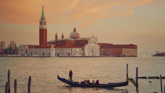 MS - San Giorgio Maggiore Church, gondola passing in the foreground