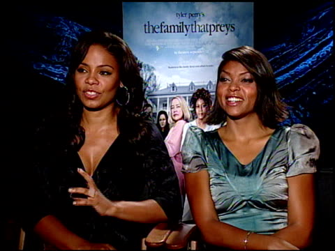 Sanaa Lathan and Taraji P Henson on playing the villain in the film at the THE FAMILY THAT PREYS junket at Los Angeles CA