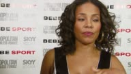 Sanaa Lathan on what she's wearing and on what she likes about the Bebe clothing line at the Eva Longoria Debuts As Face Of Bebe Sport at Skybar in...