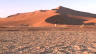 Sand dune, man with tripod walks to camera, Sossusvlei, Namib-Naukluft, Namibia