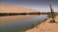 A sand dune reflects in an oasis near Ubari Libya. Available in HD.