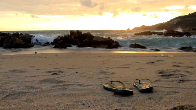 Sandals at the sunset beach
