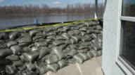 Sandbag Wall Prepared for a Major River Flood