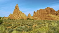 Sandstone fins. Red rock formation in Devils Garden, Utah, USA. XXXL stitched panorama.