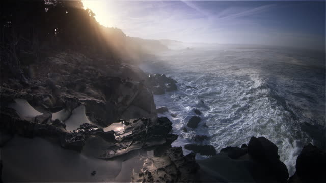 Sandstone rock formations and Pacific Ocean, California