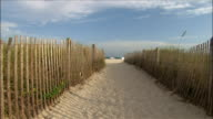 Sandy path leading to beach / people walking on beach in background / South Beach, Miami