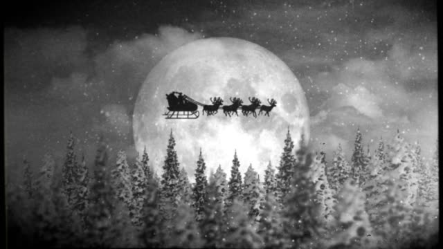 Santa and Reindeer with Old Film Look