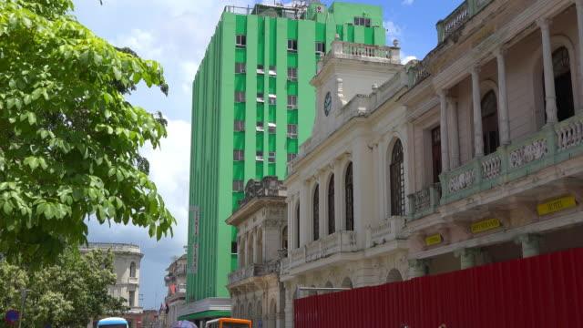 Santa Clara, Cuba: Old buildings in the Leoncio Vidal park which is a Cuban National Monument
