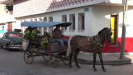Santa Clara, Cuba: Selling fruits and vegetables in horse drawn cart in the city streets
