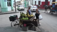Santa Clara, Cuba: selling fruits in tricycle in a centric city corner
