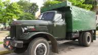 Santa Clara, Cuba: The 'Sandino' Sunday Farmer's Market, old Zyl truck used for bringing the produce