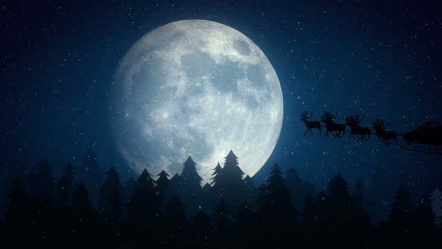 Santa Claus Flying In Front Of The Moon