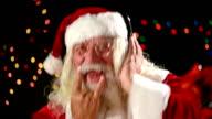 Santa Claus listen music