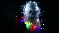 Santa Claus with christmas lights on head, turns, blinking, glasses, motion, christmas decoration