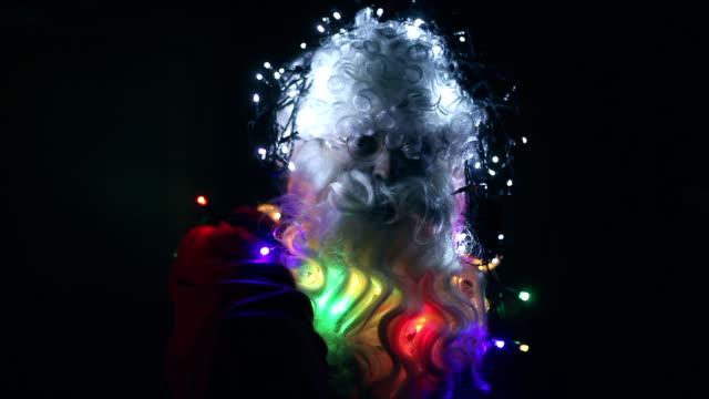 Kerstman met Kerstverlichting op hoofd, draait, knipperen, bril, beweging, Kerstdecoratie