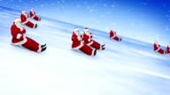 Santa Clauses celebrate New Year 2015