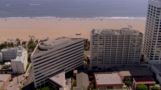 AERIAL Santa Monica beach and buildings, Santa Monica, California, USA