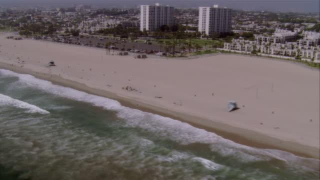 AERIAL Santa Monica Beach and pier, Santa Monica, California, USA