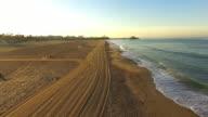AERIAL Santa Monica Beach at dawn