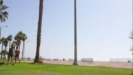 TS WS Santa Monica beach promenade and palm trees, RED R3D 4K, 4K, 4KMSTR