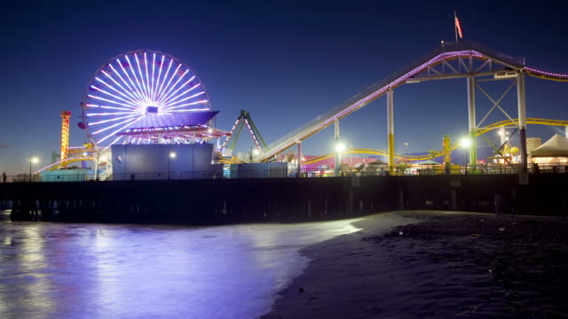T/L Santa Monica Pier and beach at night / Santa Monica, California, USA
