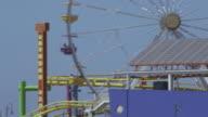 PAN Santa Monica Pier Ferris wheel carrying passengers / Santa Monica, California, United States