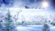 Santa sleigh delivering christmas presents (day) - Loop