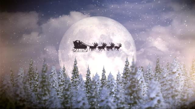 Santa With Reindeer Fly Over Moon | Christmas Night