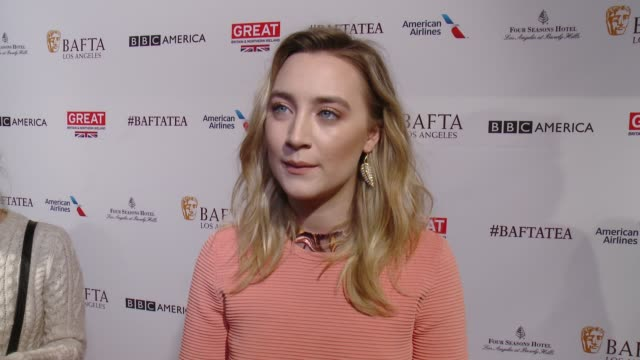 INTERVIEW Saoirse Ronan on being at the event and on her film 'Brooklyn' at the BAFTA Los Angeles Awards Season Tea Party at Four Seasons Hotel Los...