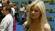Sara Paxton on coming out because she loves surfing and penguins on liking animations on being afraid of surfing because of sharks and on her...