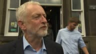 Jeremy Corbyn doorstep interview ENGLAND Great Manchester Bolton EXT Jeremy Corbyn MP departing building and posing with group of people for...