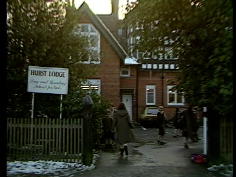 Sarah Ferguson backgrounder ITN Berkshire Ascot CMS Sign 'Hurst Lodge' Day Boarding School for Girls PULL OUT girls going into school INTVW SOF 'Well...