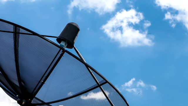 satellite antenna against blue sky