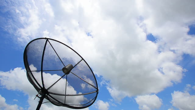 Satellite dish antennas with cloudy sky time lapse