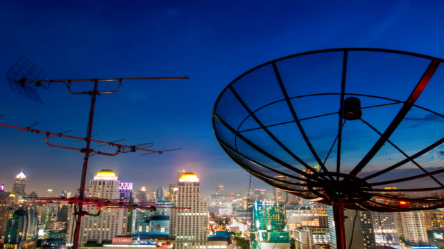 A satellite dish moves in time-lapse