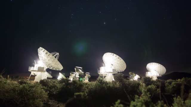 Satellite dish timelapse at night