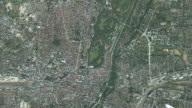 CGI WS ZO POV T/L Satellite view of earth and landscape / Munich, Bavaria, Germany