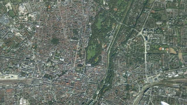 CGI WS ZO POV T/L Satellite view of earth and landscape / Munich, Bavaria, Germany