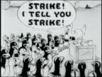 1925 MS satirical cartoon depicting union agitators organizing a strike among farm chickens