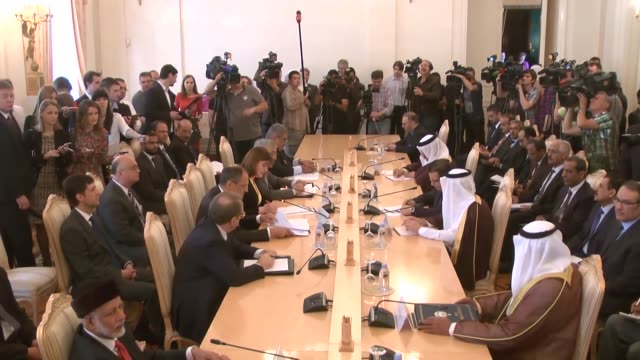 Saudi Arabian Foreign Minister Adel alJubeir and Russian Foreign Minister Sergei Lavrov attend a press conference following the RussiaGulf...