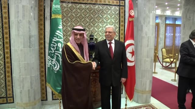 Saudi Arabian Foreign Minister Adel bin Ahmed AlJubeir and Tunisian Foreign Minister Taieb Baccouche hold a joint press conference at Foreign...