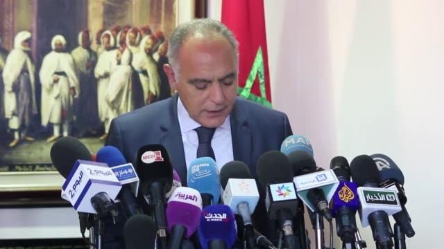 Saudi Foreign Minister Adel alJubeir meets Moroccan Foreign Minister Salaheddine Mezouar during his official visit at the Moroccan Foreign Ministry...