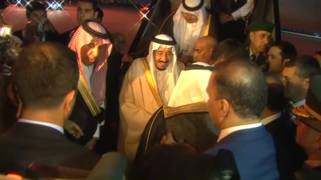 Saudi King Salman bin Abdul Aziz Al Saud arrives at the Antalya International Airport for the upcoming G20 Turkey Leaders Summit on November 12 2015...