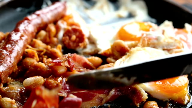 Sausage, eggs and beans